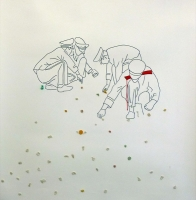 Today, in Tiananmen Square, it is forbidden to chew gum and even more to spit it out on the ground. On this drawing, three soldiers are bending over to remove the sticking gum from the floor. The observer is invited to glue his gum on the drawing. This act performed by the visitor is one of resistance.