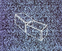Proposal of a one-minute video, to be included in a TV schedule. The image of a box changing every second, one second it is open, the next it is closed. A <em>mise en abyme</em> of the box and TV set, the snow adds to the critical observation of the content.