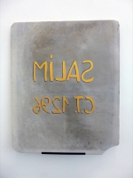 acrylic on lithographic stone, metal, 60 x 50 x 1,3 cm